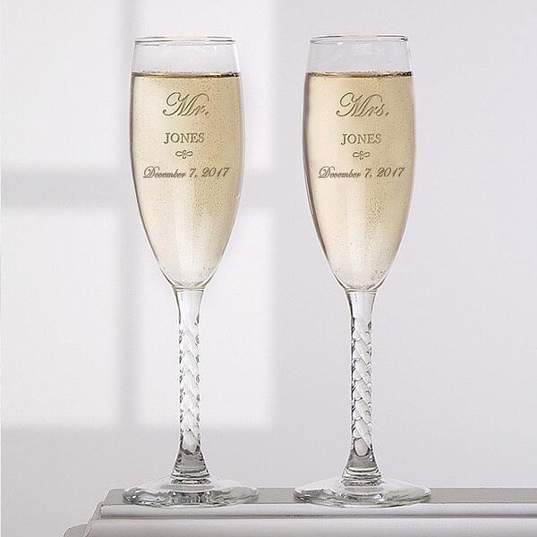 Engraved Champagne Flutes Wedding Gift