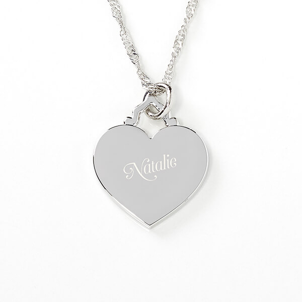 Her Loving Heart Engraved Name Necklace
