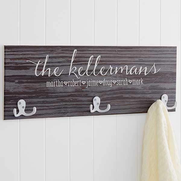 Family Love Rustic Personalized Coat Rack