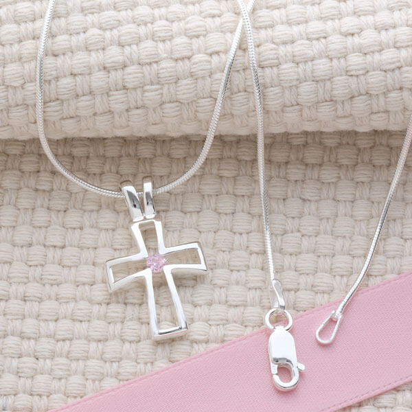 Birthstone Cross Necklace