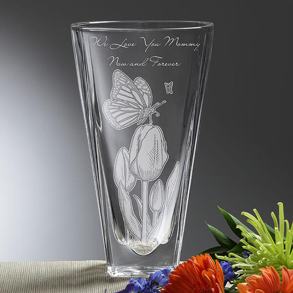 Custom Etched Crystal Vase for Mom