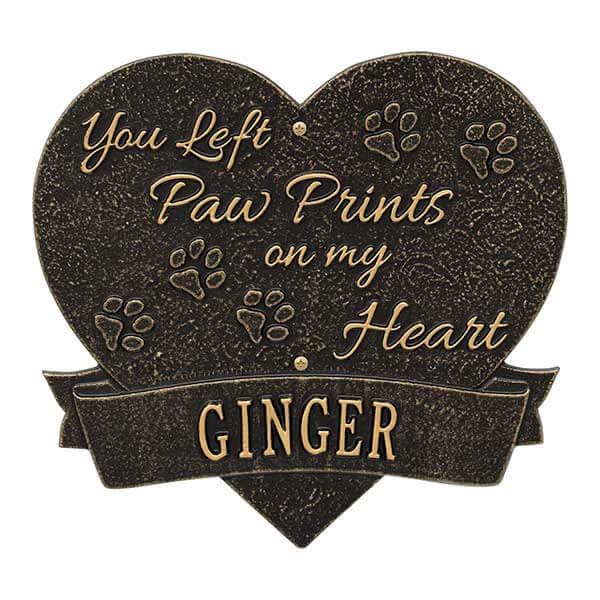 Paw Print Pet Memorial Personalized Aluminum Heart Plaque