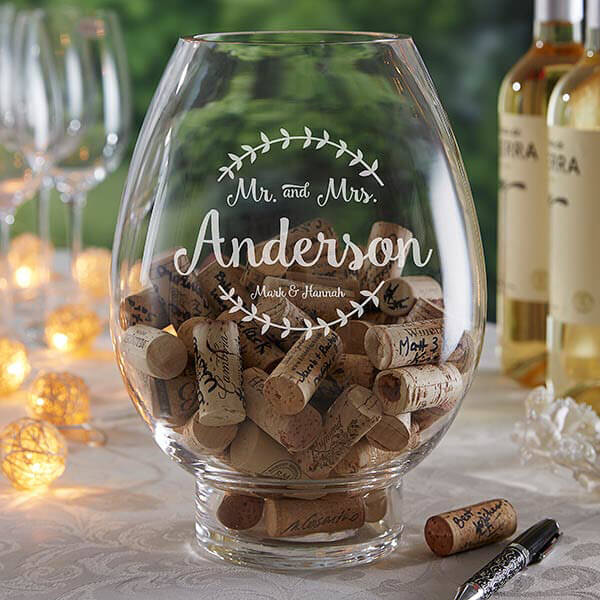 Wine Cork Guestbook Glass Hurricane Candle Holder