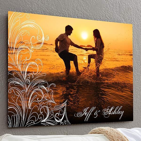 Personalized Photo Flourish ChromaLuxe Metal Panel