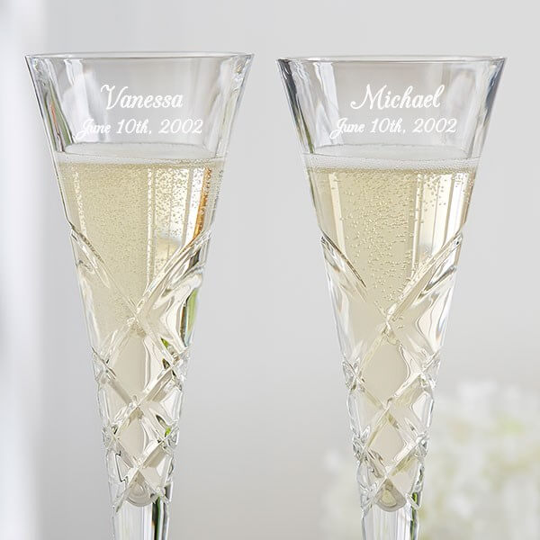 Engraved Crystal Champagne Flute Set