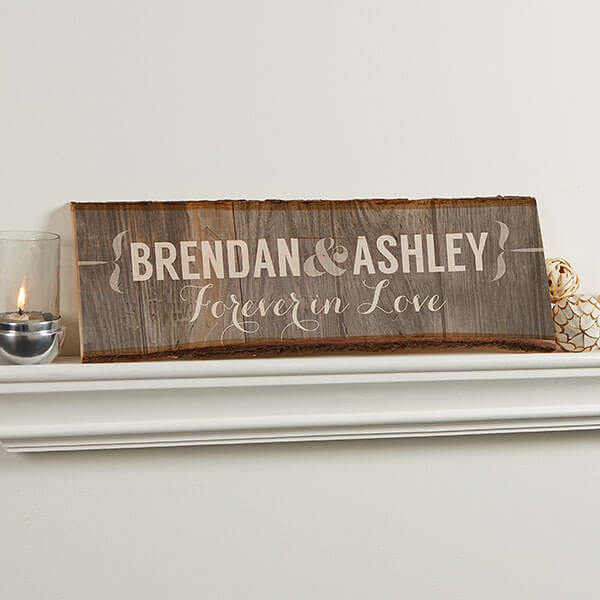 Rustic Couple Personalized Plank Sign