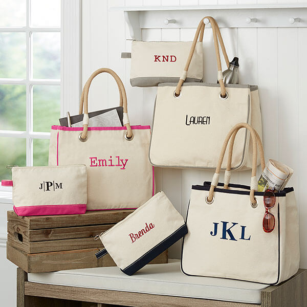 Embroidered Canvas Rope Tote Makeup Bag