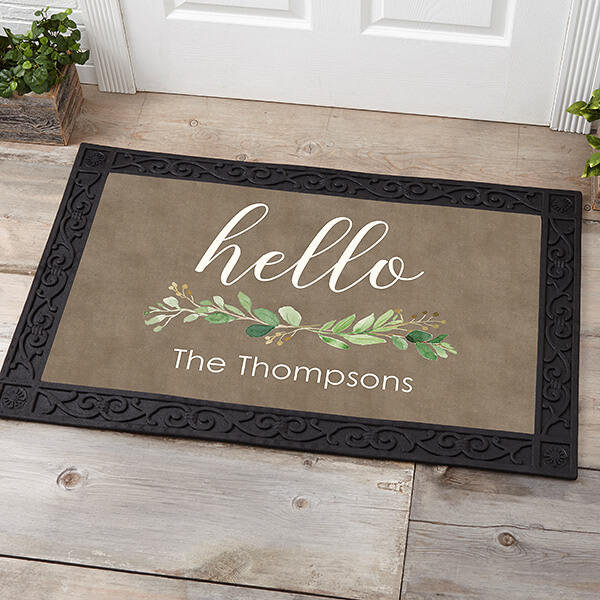 Greenery Welcome Personalized Doormat