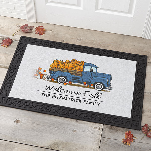 Vintage Truck Personalized Fall Doormat