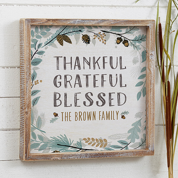 Thankful Grateful Blessed Light Blue Floral Wall Art