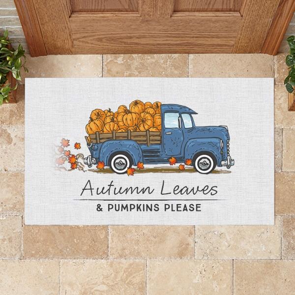 Autumn Leaves & Pumpkins Please Fall Doormat