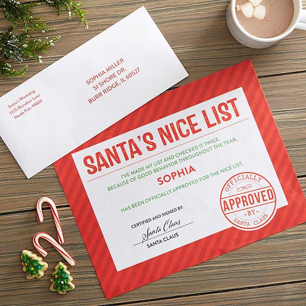 Santa's Nice List Certificate