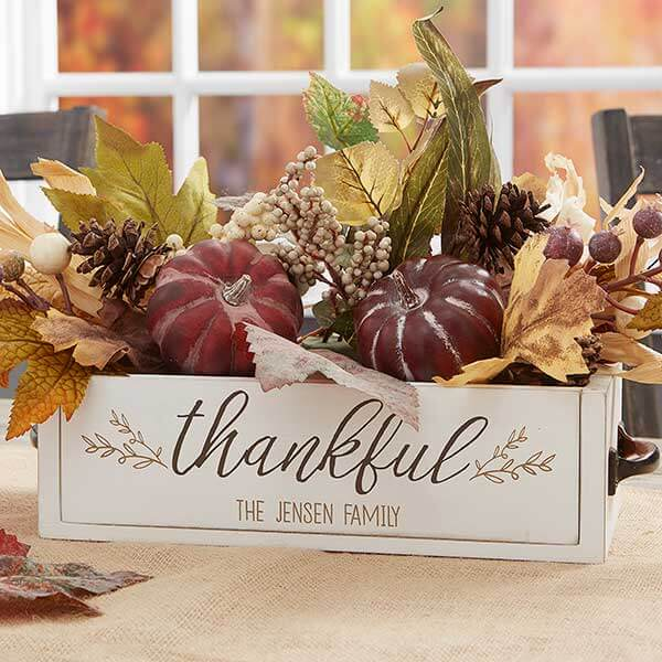 Fall Farmhouse Wooden Planter Box Centerpiece