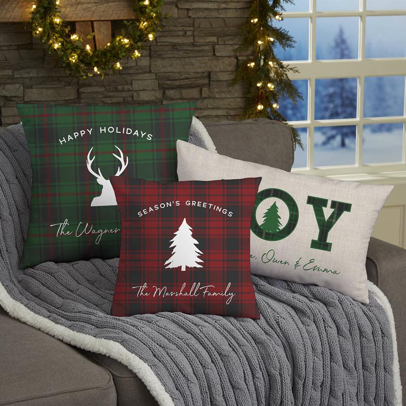 Christmas Plaid Throw Pillows