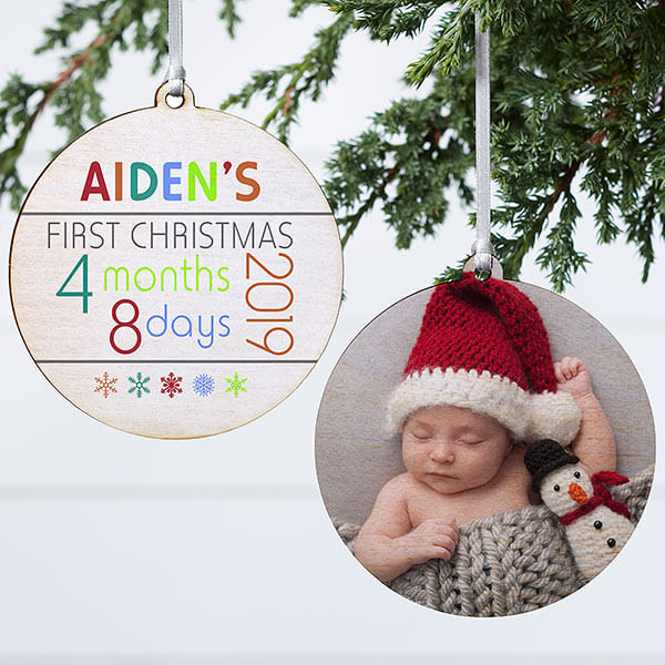 Baby's First Christmas Wood Photo Ornament