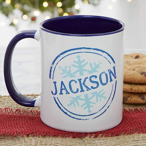 Snowflake Name Christmas Mugs For Kids