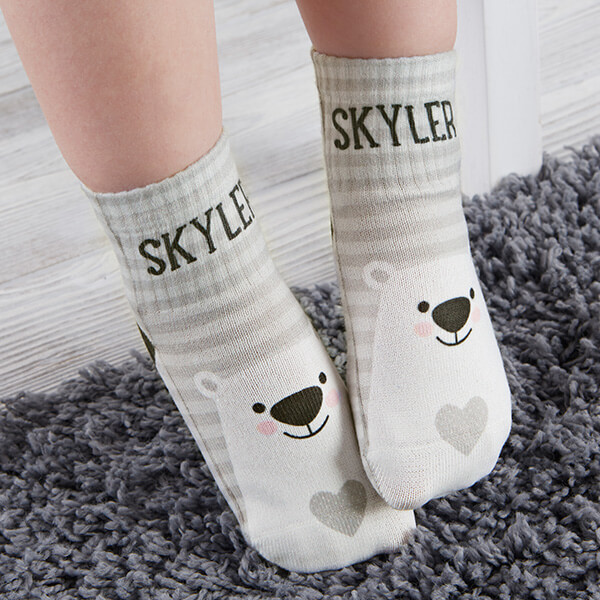 Bear Icon Custom Toddler Socks