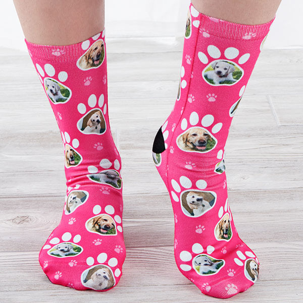 Paw Print Custom Dog Socks for Adults
