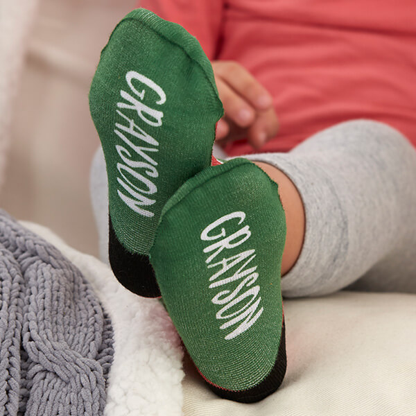 Striped Holiday Toddler Name Socks