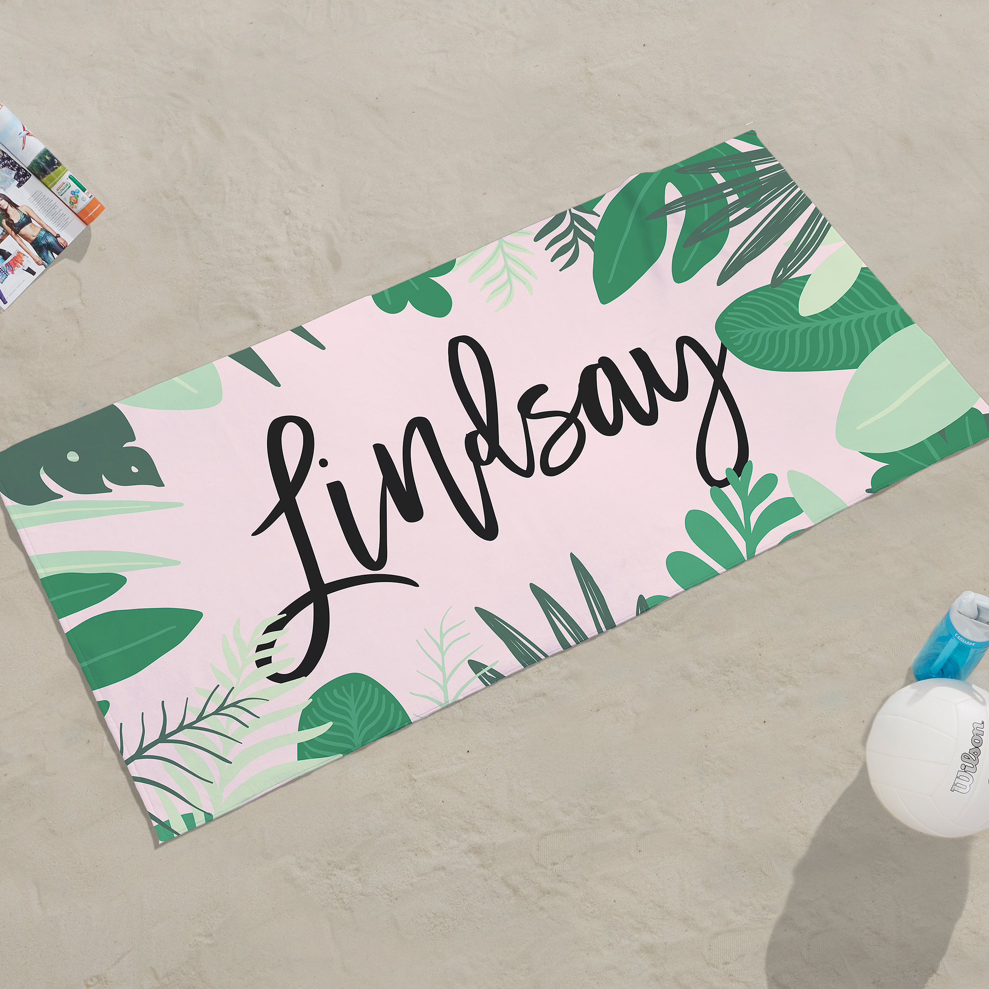 Palm Leaves Personalized Beach Towel