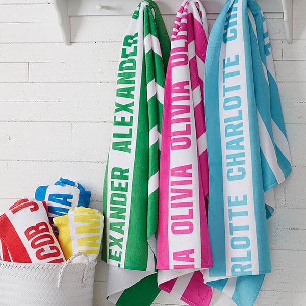 Classic Stripe Personalized Beach Towels