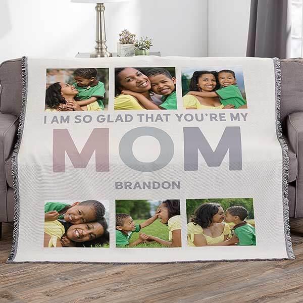 Glad You're My Mom Custom Photo Blanket