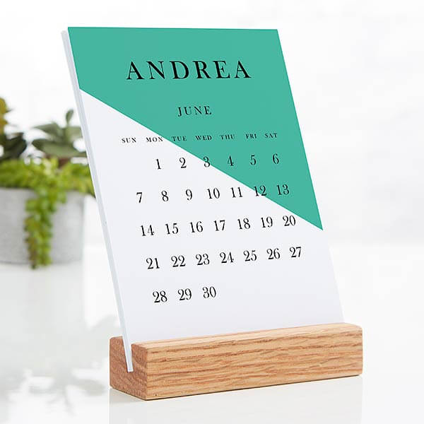 Color Block Easel Desk Calendar