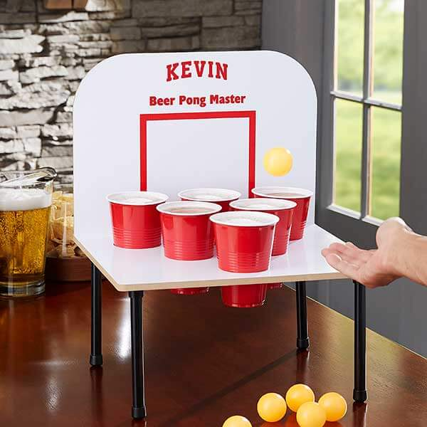 Custom beer pong drinking game