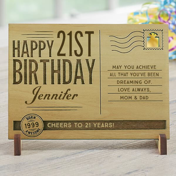 Engraved Birthday Postcard
