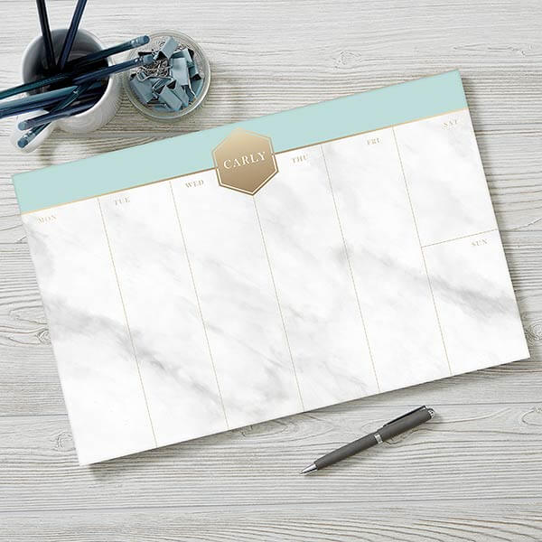 Personalized Marble Desk Planner