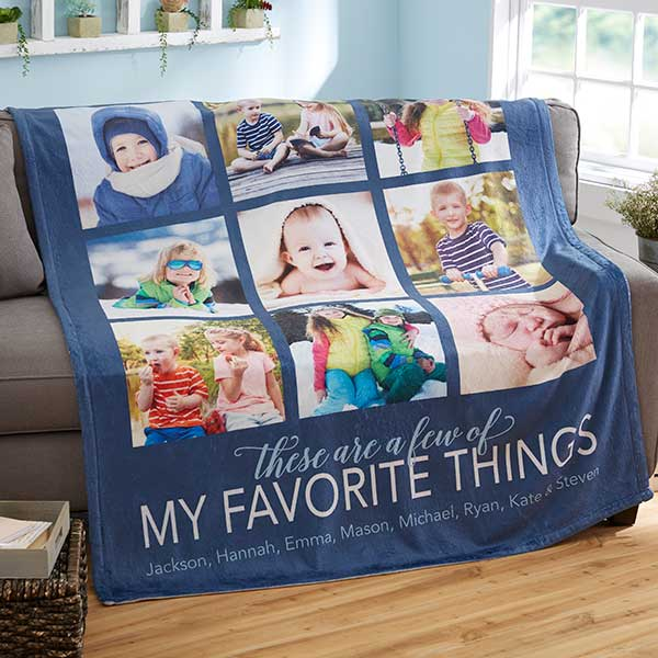 Grandparents Photo Collage Blanket
