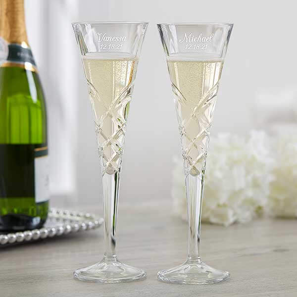 15th Anniversary Gifts by Year- Crystal Champagne Flutes