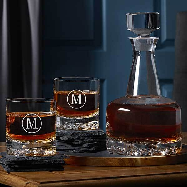 15th Anniversary Gift - Crystal Whiskey Decanter Set