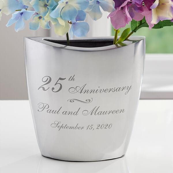 Silver Anniversary Flower Vase