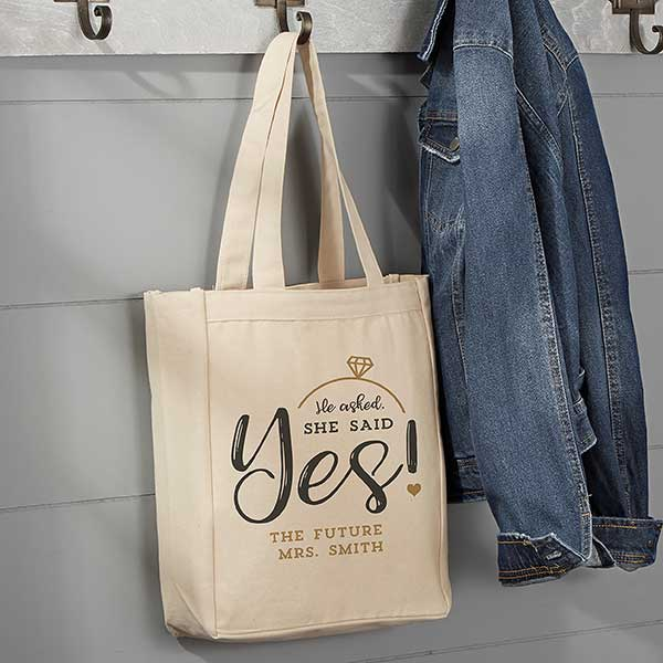 Engagement Gift Canvas Tote Bag