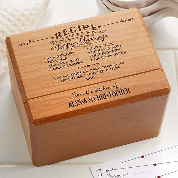 Happy Marriage Wood Recipe Box