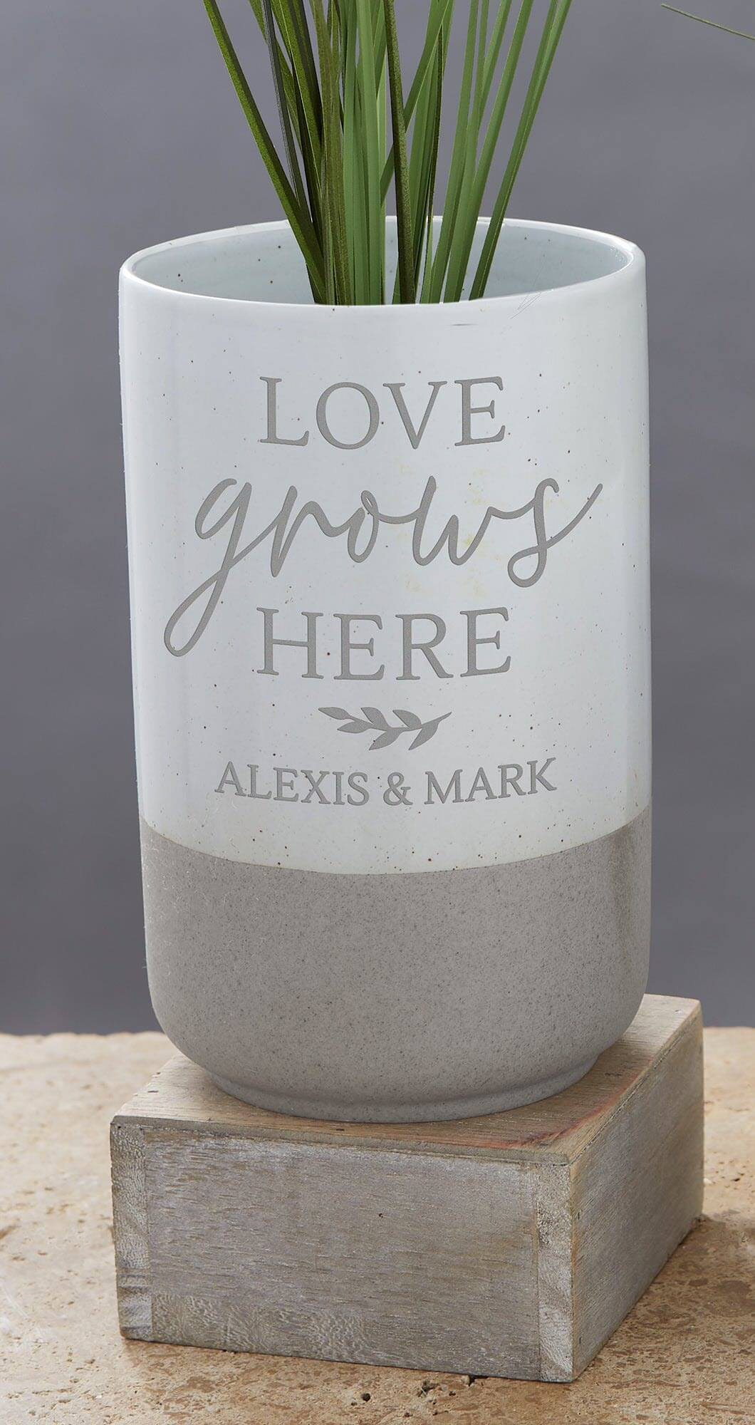 Love Grows here Cement Vase