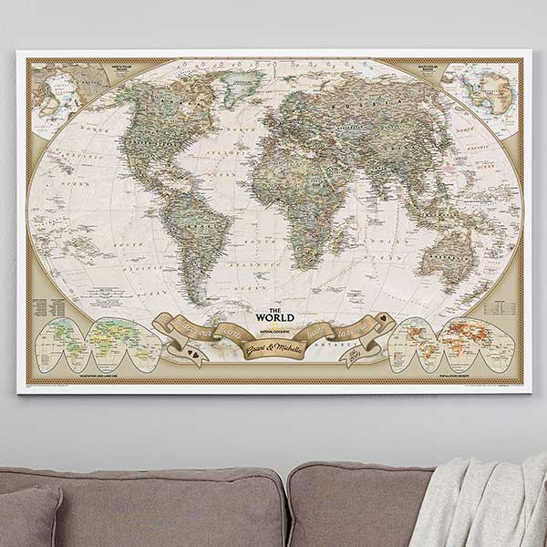 Romantic Travels Map with Pins