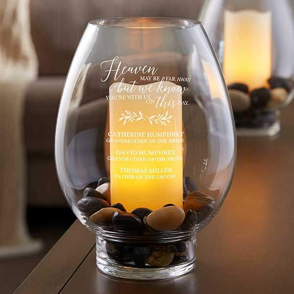 Wedding Memorial Engraved Hurricane Candle Holder