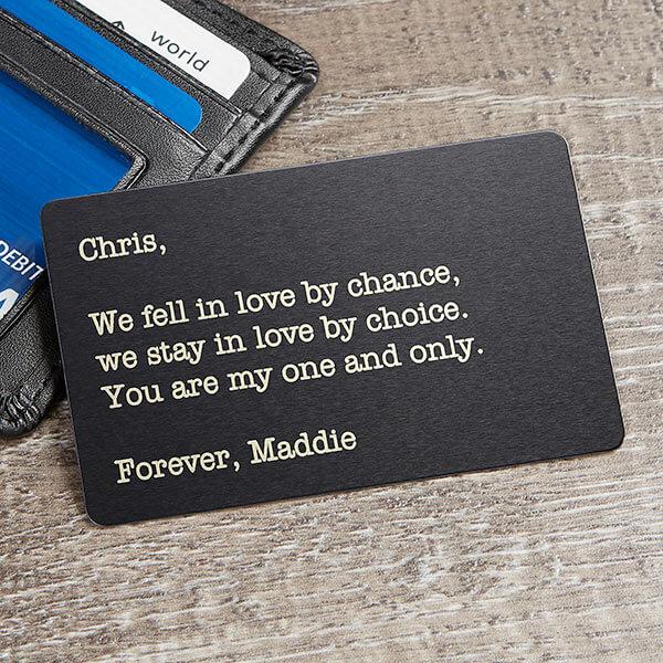 Custom romantic message wallet card