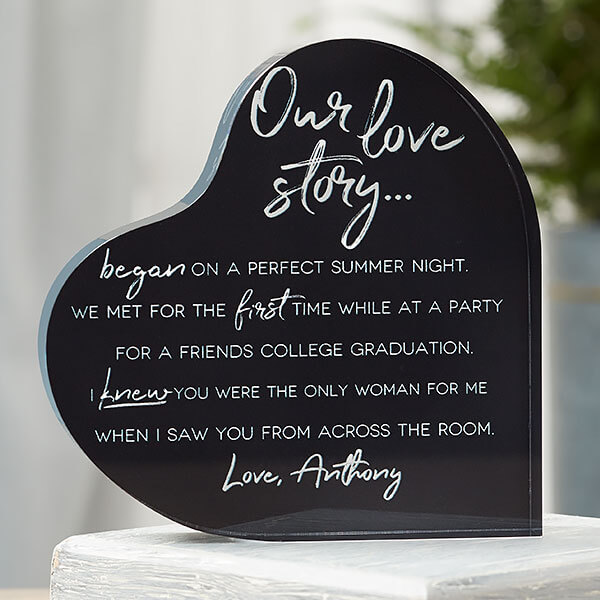 Our love story personalized keepsake
