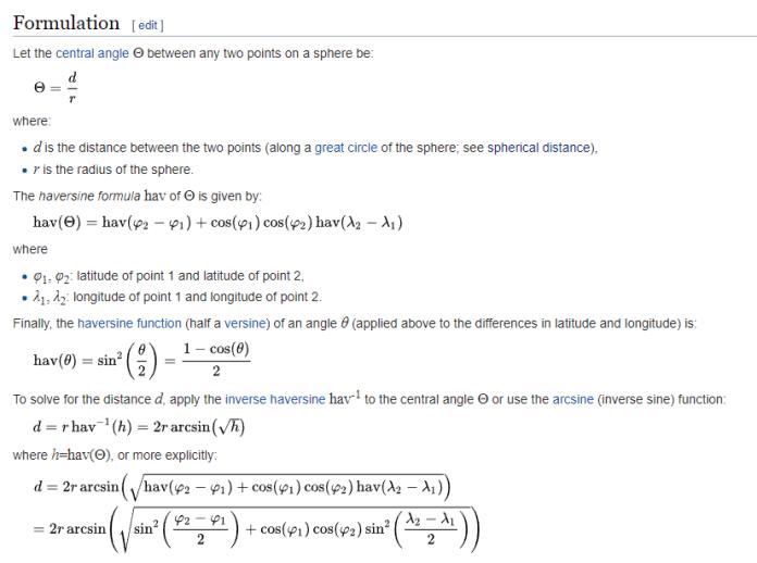 The Haversine formula