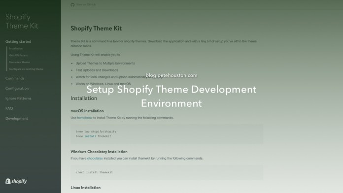 Setup Shopify Theme Development Environment