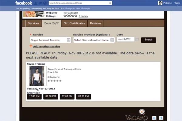 Facebook Schedule Form from Vagaro