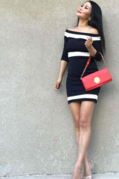 navy off the shoulder petite dress