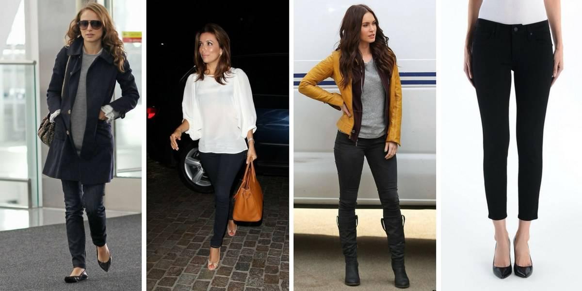 Short black skinny jeans