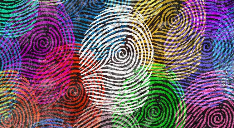 artistic portrayal of fingerprints of different colors