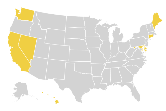 A Map of the US. As of December 1, 2018,eightstates (CA, CT, DE, HI, ME, MD, NV, WA)hada statute protecting the right to an abortion up to viability.