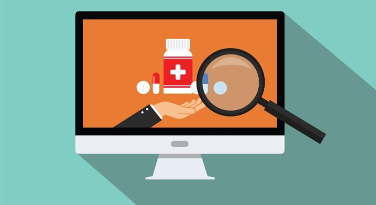 Magnifying glass examining a computer screen displaying medication