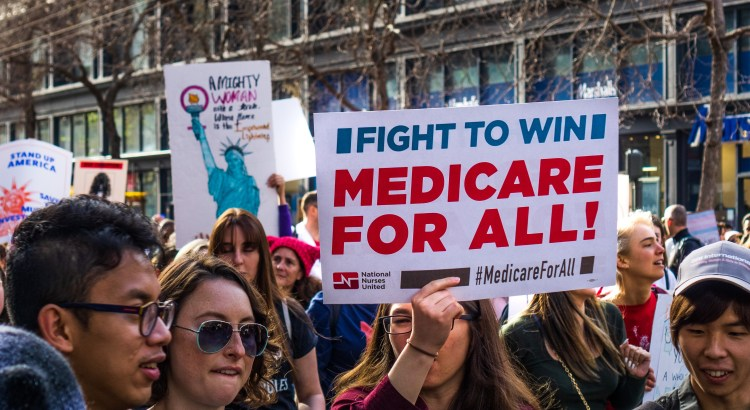 Photograph of a Medicare for All rally